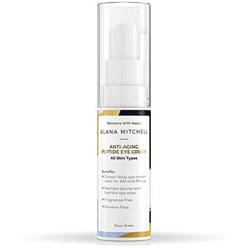 Anti Aging Peptide Eye Cream By Alana Mitchell - Look Younger, Reduce Wrinkles, Diminish Fine Lines, Erase Bags & Crow's Feet - Deep Hydration, Firming & Nourishing - For Day & Night - All Skin Types