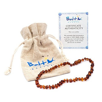 Baltic Amber Teething Necklace For Babies (Unisex) (Cognac) - Anti Flammatory, Drooling & Teething Pain Reduce Properties - Natural Certificated Oval Baltic Jewelry with the Highest Quality Guaranteed