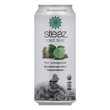 Steaz Gluten Free Lime Green Pomegranate Iced Tea Can, 16 FO (Pack of 12)
