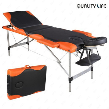 SUNCOO Portable Massage Table Folding Facial Bed lightweight Wood Frame with Carrying Case, 3 Fold Design, Including Sheet&2 Bolsters&Cradle&Hanger Black/Orange