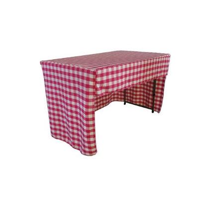 LA Linen TCcheck-OB-fit-96x30x30-FuchsiaK49 Open Back Fitted Checkered Classroom Tablecloth White & Fuchsia - 96 x 30 x 30 in.