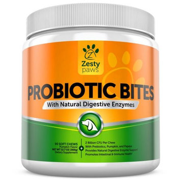 Zenwise Health Zesty Paws Probiotic Bites with Natural Difestive Enzymes for Dogs Soft Chews, 90 Ct