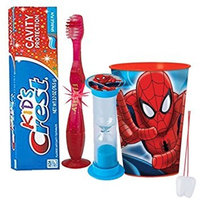 Marvel Spider-Man Inspired Boys 4pc Bright Smile Oral Hygiene Set! Flashing Lights Toothbrush, Toothpaste, Brushing Timer & Mouthwash Rise Cup! Plus Bonus