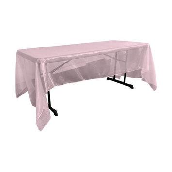 LA Linen TCOrgz60x144-PinkLghtO37 Sheer Mirror Organza Square Tablecloth Light Pink - 60 x 144 in.