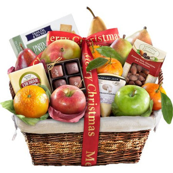 Golden State Fruit Merry Christmas Classic Deluxe Fruit Gift Basket, 16 pc