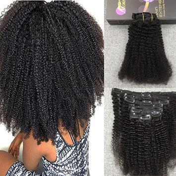 Moresoo 22 Inch 7 Pieces Remy Human Hair Black Women Clip in Hair Extensions Good Hair Full Head Black Color Clip in Extensions Afro Curly Clip on Extensions 120g