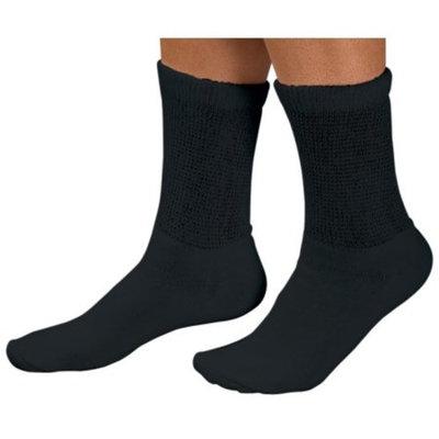 Mens Non Binding Diabetic Crew Socks Black 6 - 8