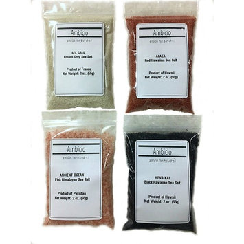 Ambicio Classic Finishing Salt Set in Gift Box: SEL GRIS French Grey-HIWA KAI Black Hawaiian-ALAEA Red Hawaiian-Himalayan Pink (Classic Finishing)