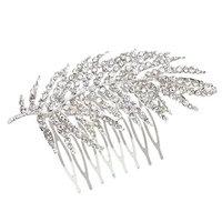 MonkeyJack Stunning Bridal Wedding Crystal Rhinestone Feather Hair Comb Clip