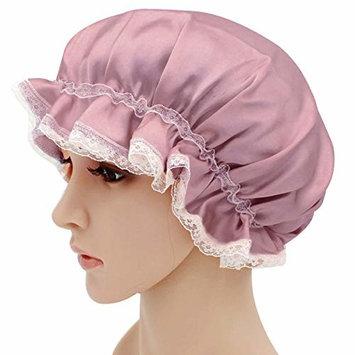 Aisa Ladies Elastic Laces Shower Caps Breathable Silk Bathing Salon Hair Caps NightCaps Pale Mauve