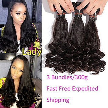 XCCOCO Funmi Spring Curly Weave 3 Bundles(14inchx3)Cheap Bouncy Curl Hair Weave 7A Brazilian Virgin Remy Short Curly Human Hair Extensions Natural Black Color 300g/lot