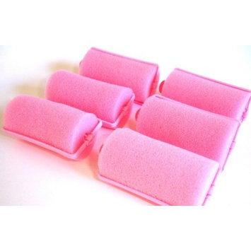 2 Pack (each contains 6 rollers) Soft PINK Foam Hair Styling Rollers SPONGE Curlers LARGE 1