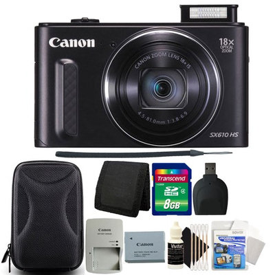 Canon PowerShot SX610 HS 20.2MP 18x Optical Zoom Wifi Digital Camera (BLACK) with 8GB Professional Accessory Kit
