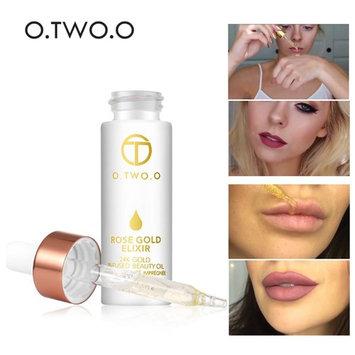 O. TWO. O 24k Rose Gold Elixir Skin Make Up Oil For Face Lip Essential Primer Foundation Moisturizing Lip Oil Anti-aging