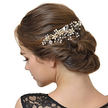 Vintage Wedding Hair Comb for Brides Crystal Simulated Pearl Bridal Hair Accessories (155.5cm)