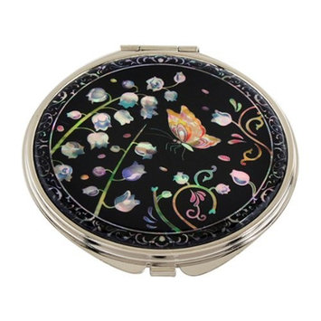 Mother of Pearl Lily of the Valley Design Double Compact Magnifying Cosmetic Makeup Purse Beauty Pocket Mirror