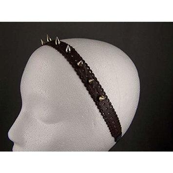 Dark Brown faux leather rivet spike stud headband stretch elastic spiked studded