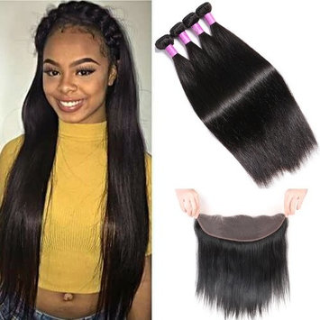 YoungFace 8A Straight Hair 3 Bundles with Lace Frontal Malaysian Straight Virgin Hair with 13x4 Frontal Free Part Lace Frontal Unprocessed Human Hair Extensions (16 18 20+14 frontal, Natural Color)