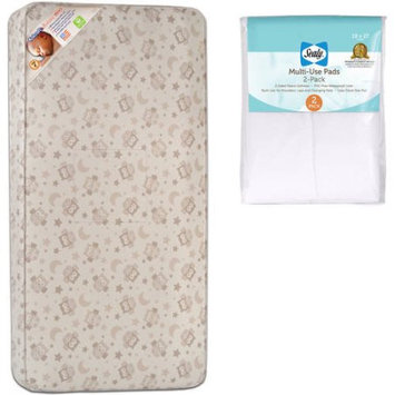 Kolcraft Pediatric 800 Crib and Toddler Mattress with Sealy Multi-Use Pads, 2 Pack