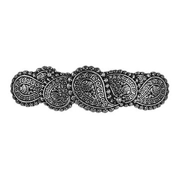 Paisley Hair Clip - Hand Crafted Metal Barrette Made in the USA with imported French Clips By Oberon Design …