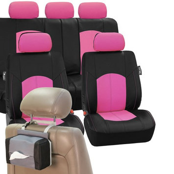 Fh Group PU Leather Car Seat Covers Sporty Set Pink Black Free Gift Tissue Dispenser
