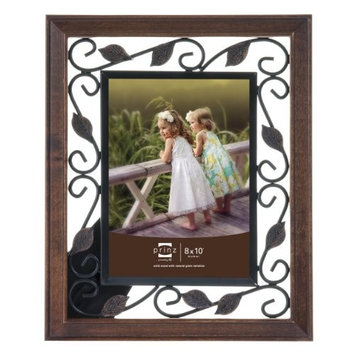 PRINZ Hawthorne Dark Walnut Solid Wood Frame with Antique Copper Metal Accents, 4 by 6-Inch