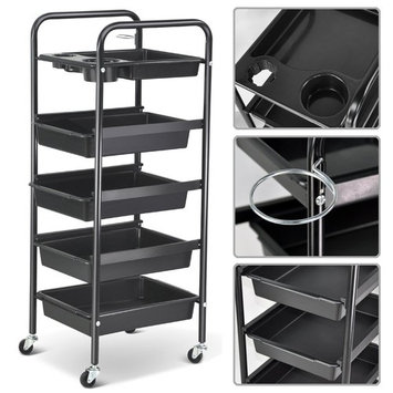 Salon Hairdresser 5-Tier Drawers Storage Trolley with Castors, Multifunctional Hairdressing Beauty Makeup Cart Coloring Spa Salon Cart, Black