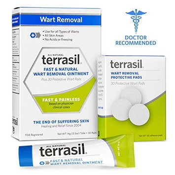 Wart Remover with Pads- Safe for Sensitive Skin Dr Recommended 100% Guaranteed All Natural Pain Free Salicylic Acid Free Patented Treatment for Plantar Genital Facial Warts by Terrasil