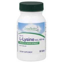 Live Better - Natural L-Lysine - Growth & Development - HCL 500 mg - Exp:5/18