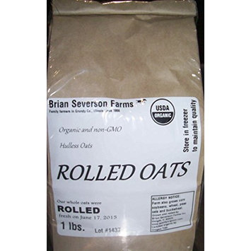 Organic Rolled Oats: Fresh Cold Rolled Raw Hulless Oats, Farmer Direct, non-GMO and organic, Rolled Fresh, 1 lb.