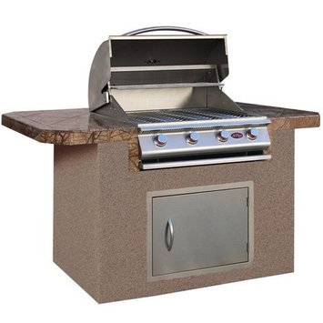 Cal Flame 6 ft. Stucco BBQ Island with Bar Depth Top & Gas Grill