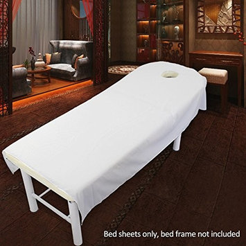 Beauty Massage Treatment Soft Sheets Spa Massage Treatment Table Bed Cover with Hole (white)