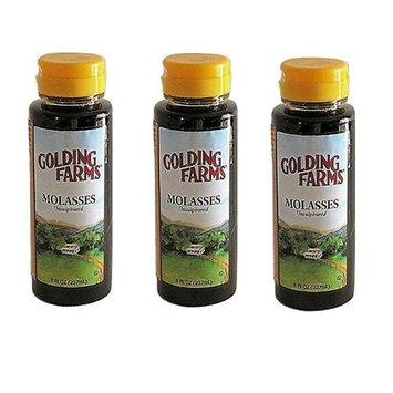 Golding Farms Unsulphured Molasses 8 oz Table Size 3-Pack - Total 24 oz