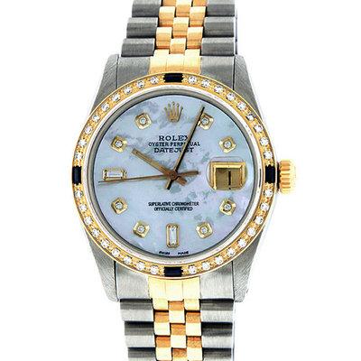 Pre-Owned Rolex Mens Datejust Steel & 18K Yellow Gold MOP Diamond & Sapphire Watch 16013 Jubilee