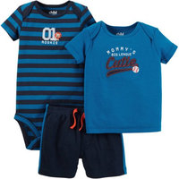 Child of Mine by Carter's Newborn Baby Boy T Shirt, Bodysuit and Shorts Outfit Set 3 Pieces