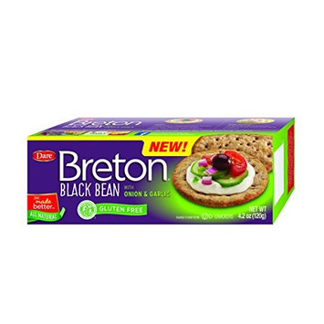 Dare Breton Gluten Free Entertaining Crackers, Black Bean with Onion and Garlic – Gluten Free Party Snacks with 2g of Fiber and Protein per Serving – 4.2 Ounces (Pack of 6)