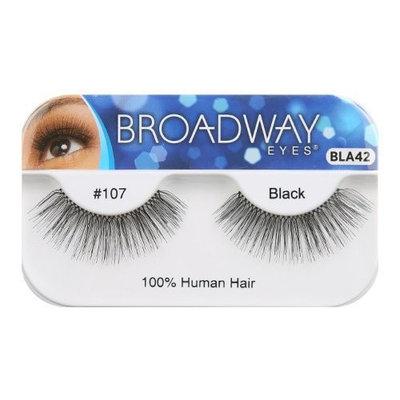 Broadway Eyes False Strip Eyelashes 100% Human Hair Black #107, BLA42