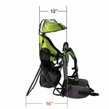 Baby Back Pack Cross Country Carrier Stand Child Kid Sun Shade Visor Green