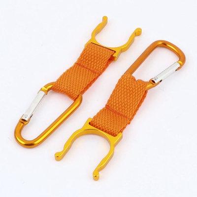 2Pcs Orange Belt Strap Carabiner Water Bottle Hook Holder Clip for Camping Sport