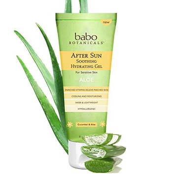 Babo Botanicals After Sun Hydrating Organic Aloe Vera Gel for Sensitive Skin, 8 Ounce