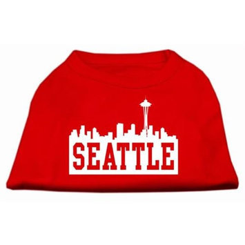 Mirage Pet Products 5173 XLRD Seattle Skyline Screen Print Shirt Red XL 16