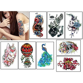 8 Sheets Colorful Temporary Tattoos, Animal Fake Waterproof Tattoo Stickers-For Adults or Kids(By MoreShow)