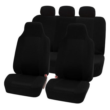 Fh Group FH-FB102115 Classic Cloth Car Seat Covers, Full Set with Solid Bench, Black
