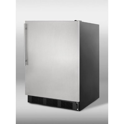 Summit CT66BSSHVADA: ADA compliant refrigerator-freezer for freestanding use, with black cabinet, stainless