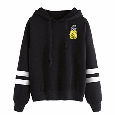 Women Round Neck Pineapple Print Casual Stripe Long Sleeve Casual Sweatshirt Pullover Tops