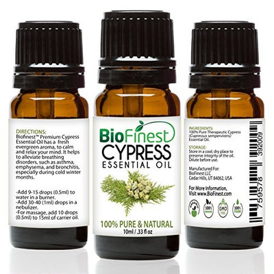BioFinest Cypress Oil - 100% Pure Cypress Essential Oil - Premium Organic - Therapeutic Grade - Best For Aromatherapy - Mood uplifter -Energizing and Refreshing FREE EBook