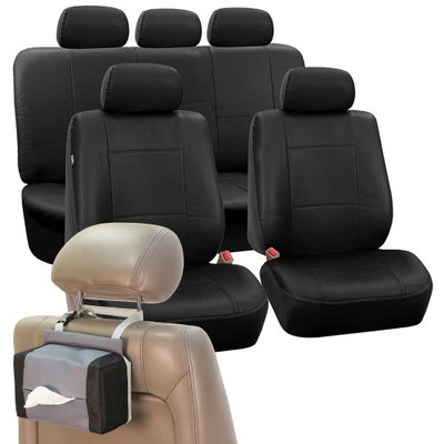 Classic Faux Leather Car Seat Cover Set Black Free Gift Tissue Dispenser
