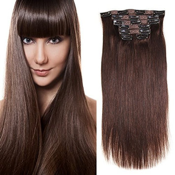 Clip in Human Hair Extensions Remy Hair Straight Dark Brown(#2) 7pieces 80grams/2.82oz (20