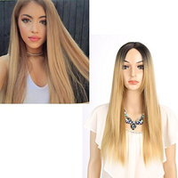 Long Straight Hair Two Tone Black and Blonde Ombre Wig Heat Resistant Fiber Synthetic Wigs