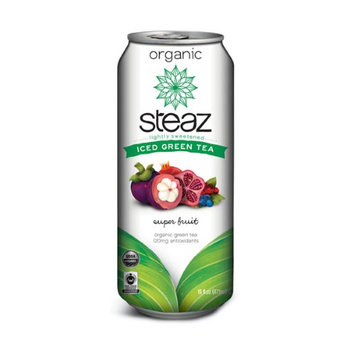 Steaz Organic Lightly Sweetened Super Fruit Iced Green Tea 16 oz Cans (Pack of 12)